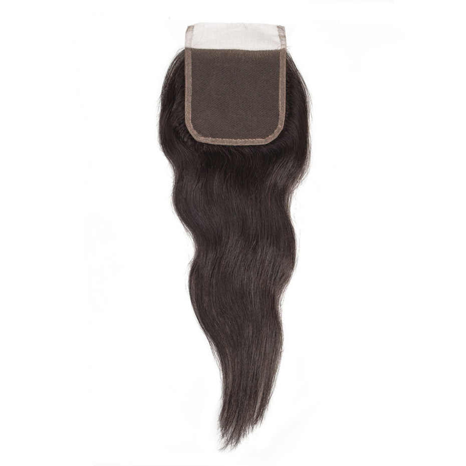 Wiązki z zamknięciem naturalne proste surowe indyjski dziewiczy włosy wiązki wyplata z 4x4 koronka zamknięcie część darmowe 100% ludzkich włosów