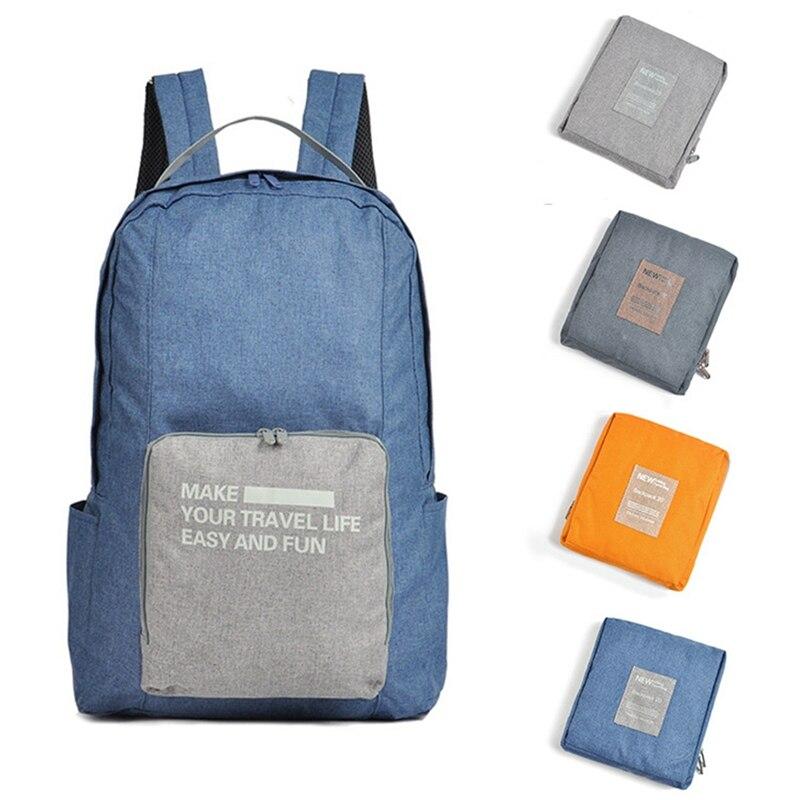 Double Shoulder Backpack Large Capacity Lightweight Folding Waterproof Zipper School Travel Bag Packs Water Bottle Pockets