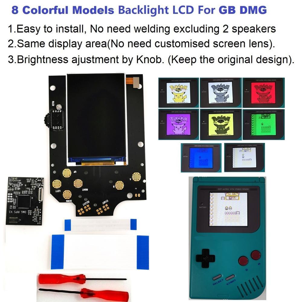 V3 8 modelos coloridos tamanho completo rasga retroiluminado kit lcd para gameboy dmg gb dmg console gb dmg e pré-corte escudo caso