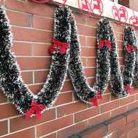 Dropship 2M Christmas Garland Home Party Wall Door Decor Christmas Tree Ornaments Tinsel Strips with Bowknot Party Supplies
