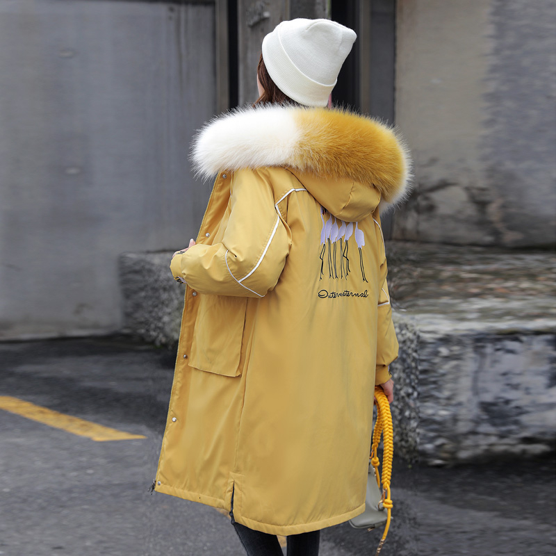 Winter Jacket Women Cotton Down Padded Parka Hooded Fur Collar Big Size Coat Thick Warm Embroidery Women's Parkas Female Jacket