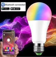 Bluetooth esperto conduziu o bulbo e27 b22 110v 220v conduziu o holofote 5w 10w 15 rgb rgbw rgbww lâmpada mágica + controle remoto ir ou bluetooth