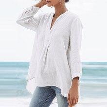 Casual senhoras blusa de cor sólida nove pontos manga botões de linho plus size camisa 2021 moda solta topo v pescoço camisas femininas