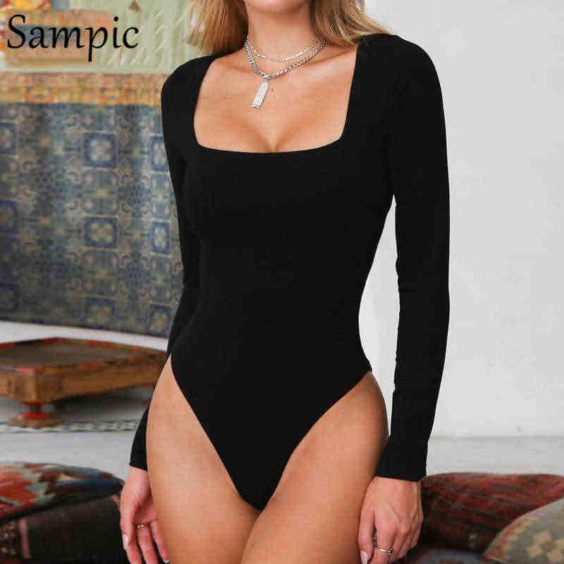 Sampic mulher moda sexy casual pescoço quadrado quente magro bodysuit macacão manga longa magro bodycon topos outono inverno