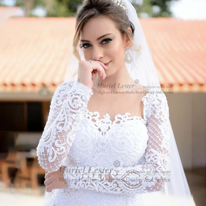 Latest Design Long Sleeves Bridal Gowns Robe De Marriage Lace Appliques Ball Gown Wedding Dress Custom Made Vestido De Novias