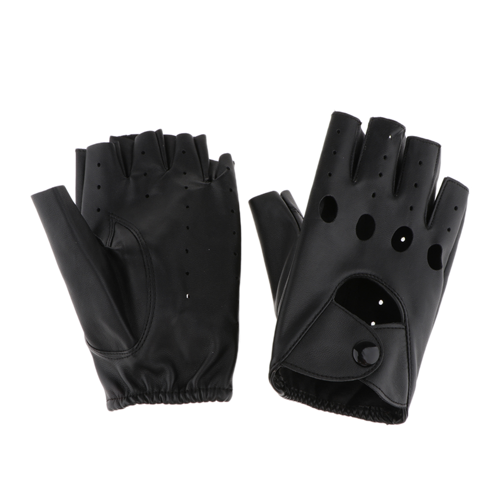 Women Mens PU Leather Punk Rock Style Half Finger Hollow Holes Gloves