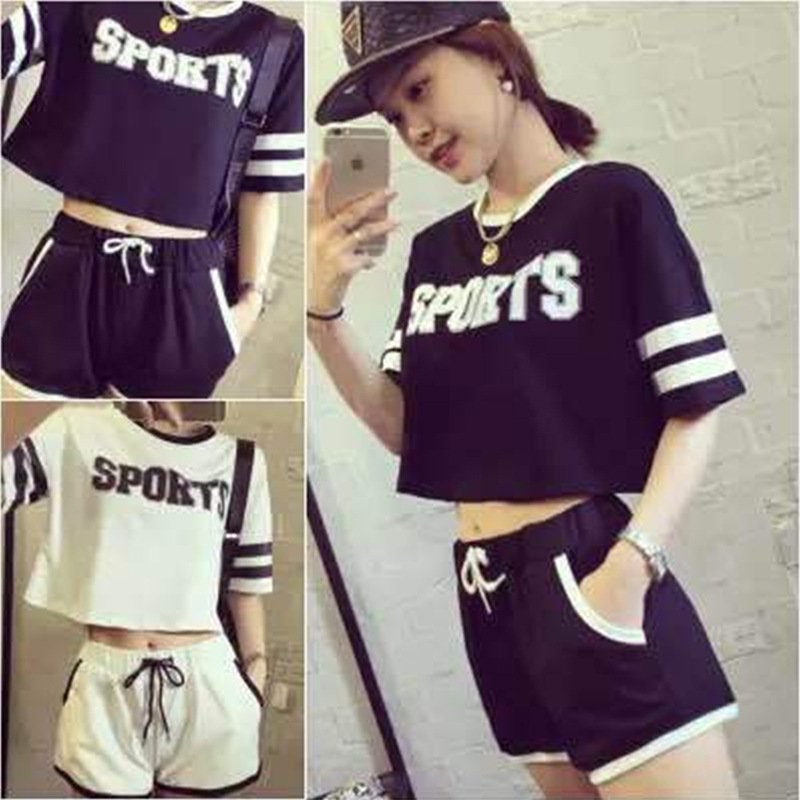 [Foreign Trade] 2019 Summer Korean-style WOMEN'S Short-sleeved T-shirt Women's + Shorts Casual Fashion & Sports Two-Piece Set