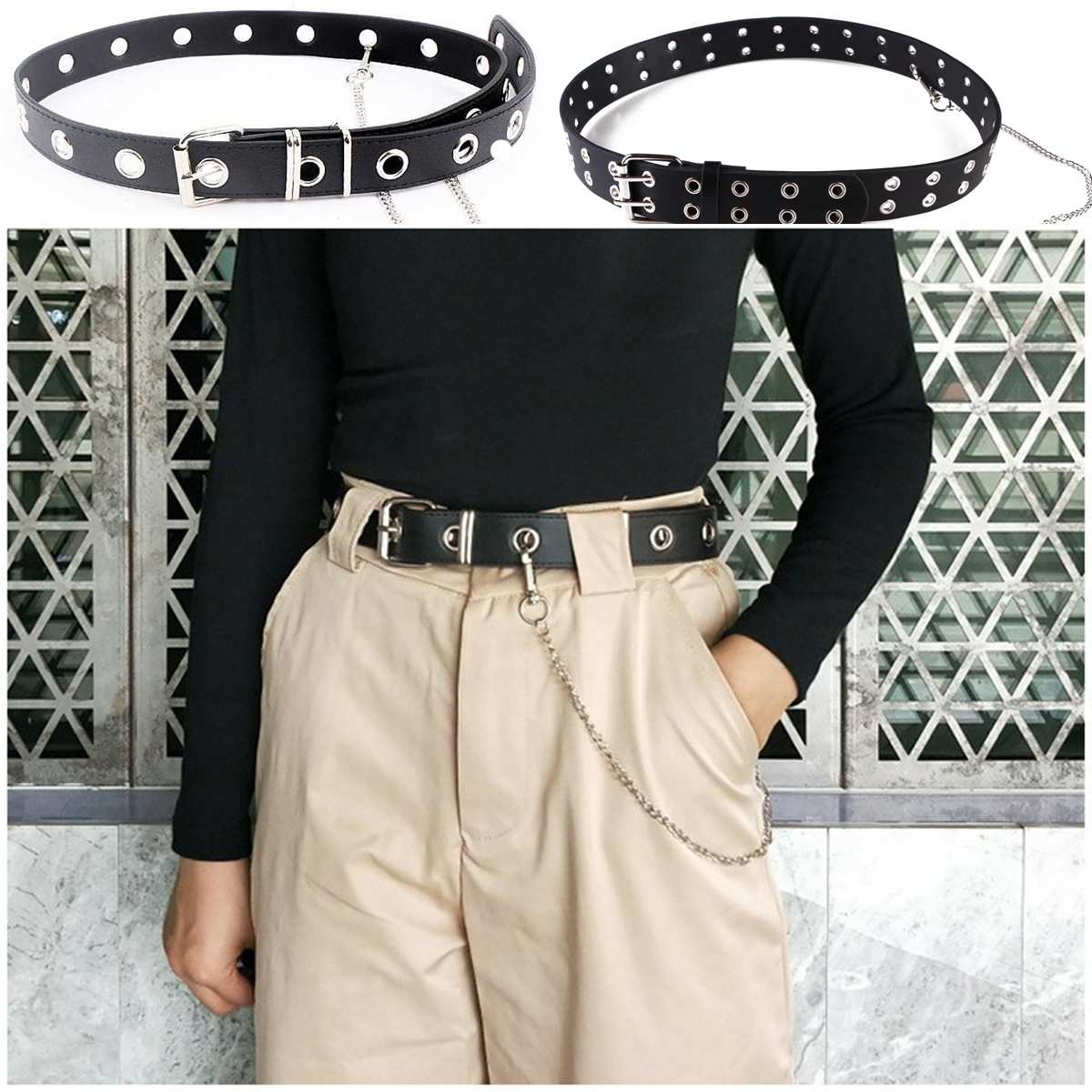 PU Leather Studded Punk Rivet Waist Strap Metel Waistband Buckle Belt W/ Chain