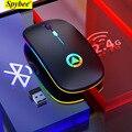 Бесшумная беспроводная мышь, заряжаемая легкая, портативная, светодиодный, цветная, ультра-тонкая, перезаряжаемая мышь, мышь Bluetooth для ноутб...