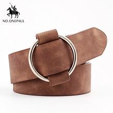 NO. ONEPAUL, женский кожаный ремень без штифта, высокое качество, металлическая пряжка, новейшие круглые пряжки, ремни для женщин, поясные женские ремни из воловьей кожи