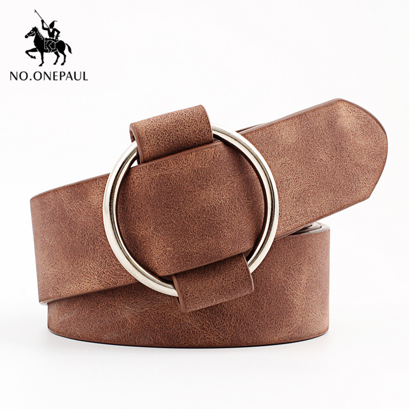 NO.ONEPAUL Women Leather Belt Without Pin High Quality Metal Buckle Newest Round Buckle Belts Women Waist Female Cowhide Belts