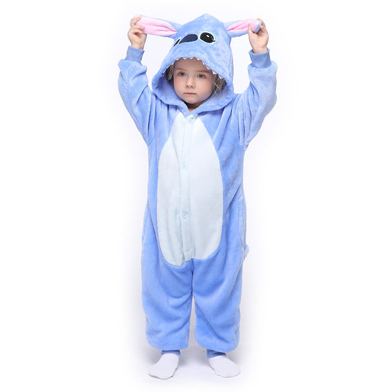 Kids Kigurumis Baby Clothes Animal Blue Stitch Toddler Onesie Romper Infant Baby Carnival Clothing Onepiece Child Costume