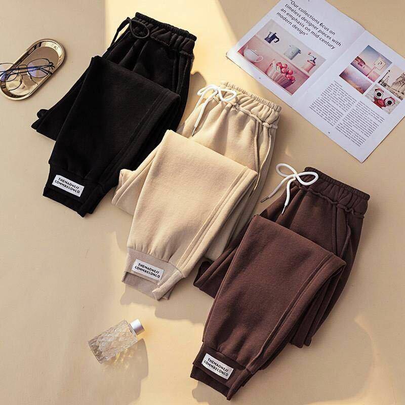 Pantalones de chándal de otoño para mujer, pantalones de chándal informales cálidos para mujer, pantalones deportivos de invierno de cintura alta, pantalones harem de algodón para mujer de talla grande|Pantalones y pantalones capri|   - AliExpress