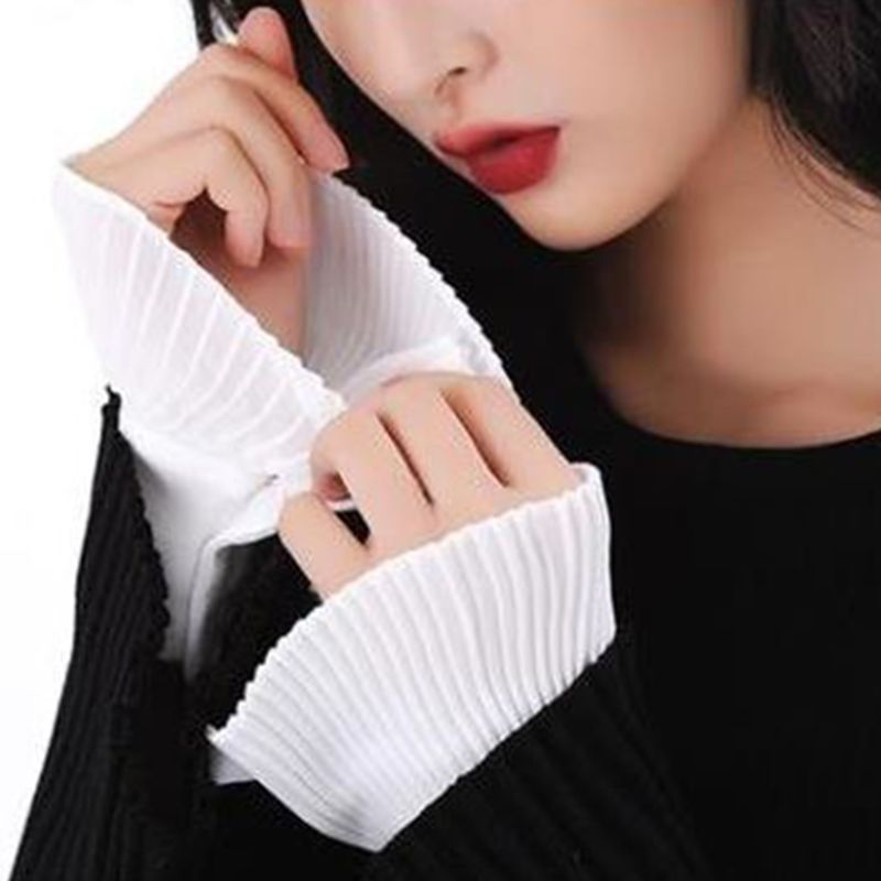 Korean Retro Wrinkled Pleated Flare Sleeve False Cuffs Solid Color Sweater Decorative Detachable Clothing Accessory