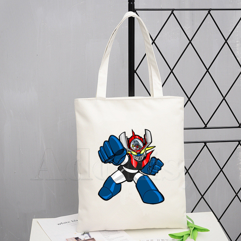 Japan Comic Mazinger Z Handbags Hot Selling Fashion Handbag Canvas Bag Tote Ladies Casual Shoulder Bag Reusable Shopping Bags