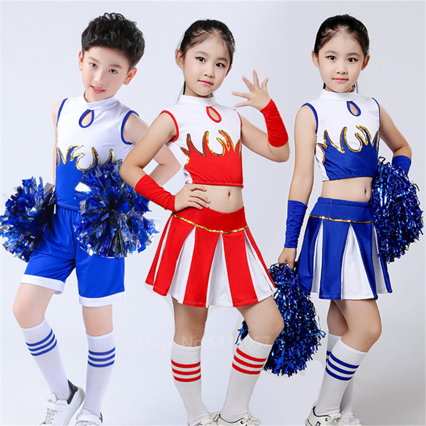 School Uniforms For Kids Cheerleader Costumes Girls Skirt Carnival Party Competition Game Stage Performance Clothing Set