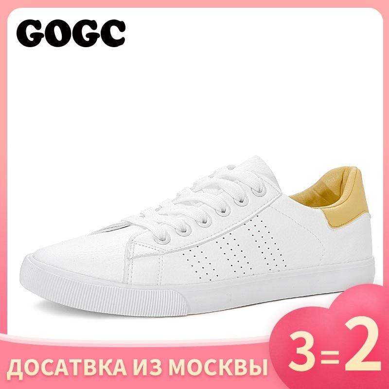 Gogc branco tênis feminino sapatos de lona primavera verão ons feminino tênis sapatos lisos feminino slipony casual g788