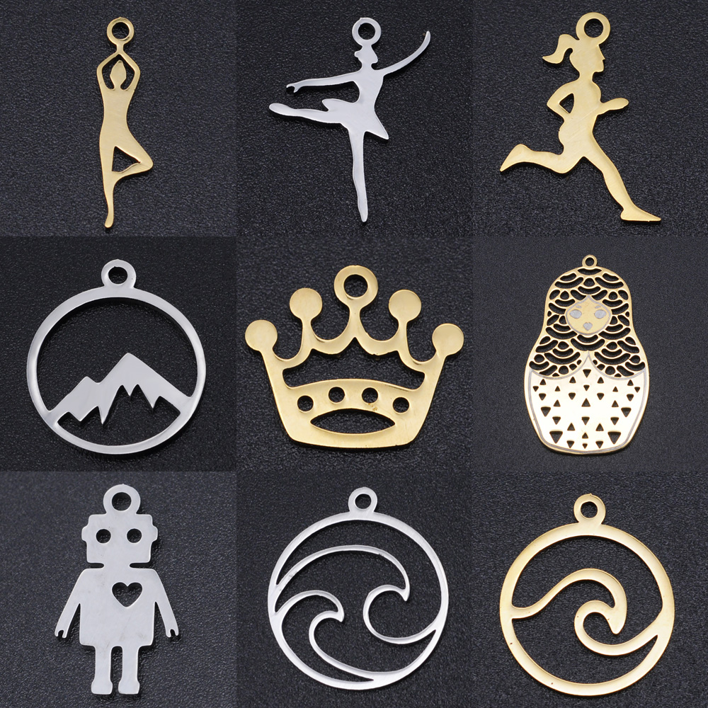 5pcs/lot Running Yoga DIY Charms Wholesale 100% Stainless Steel Wave Mountain Connectors Charm Crown Ballet Jewelry Pendant