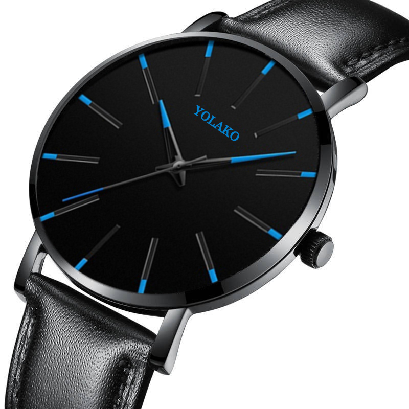 Men Watches New Trendy Blue Dial Simple Quartz Casual Leather Strap Wristwatch Ultra Thin Clock Business Relogio Masculion