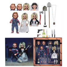 A Noiva De Chucky NECA Chucky Chucky Tiffany Final Fica Sorte Dupla Set PVC Action Figure Collectible Toys Brinquedos 10CM(China)