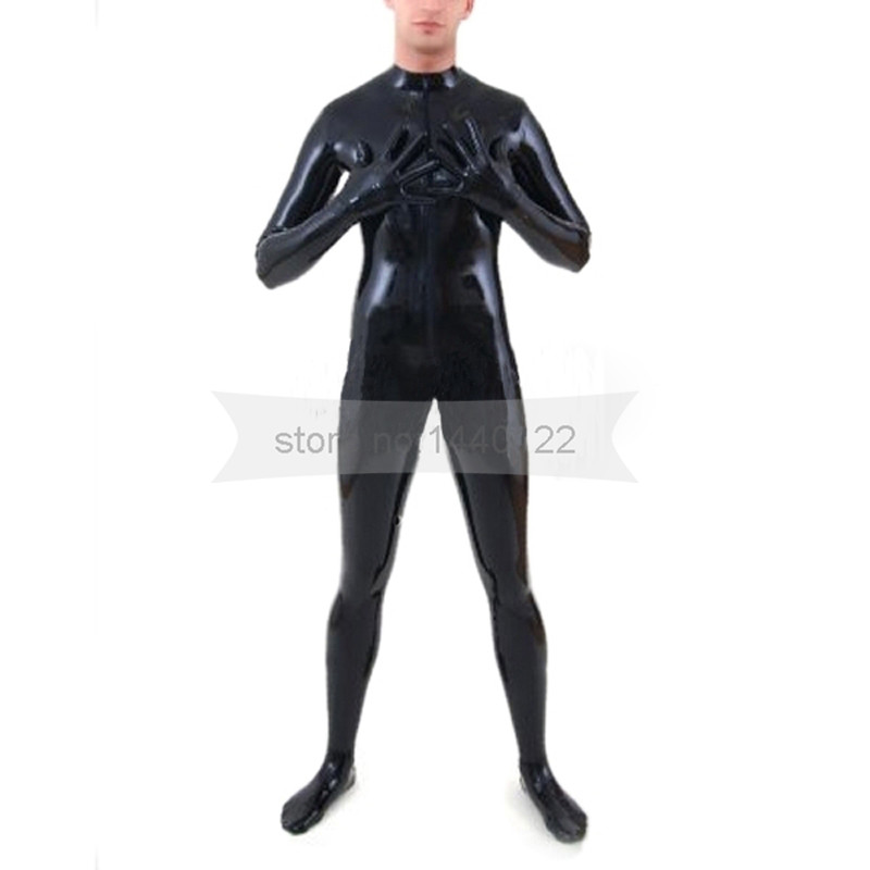 Male Rubber Latex Catsuit  Socks Gloves Attached Black  Men Fetish Tights  Body Suit  BNLCM079