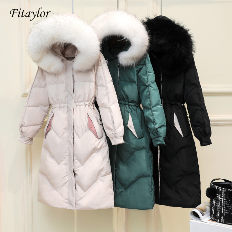 Fitaylor Women Winter Coat White Duck Down Parkas Real Raccoon Fur Collar Hooded Jackets Sash Tie Up Medium Long Overcoat