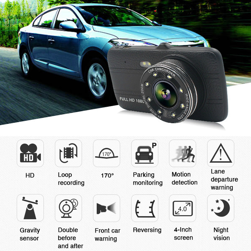 Dual Lens 4 Inch <font><b>DVR</b></font> Dash Cam <font><b>Car</b></font> Camara Para Auto Recorder Drive Recorder In English <font><b>Car</b></font> <font><b>DVR</b></font> <font><b>With</b></font> <font><b>Two</b></font> <font><b>Cameras</b></font> Auto Night Vision image