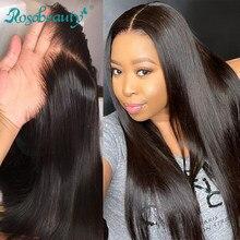 Fechamento reto do cabelo do virgin do fechamento 4x4 do laço do cabelo de rosabelet com o meio do cabelo do bebê/livre/3 parte preto sexta-feira ofertas