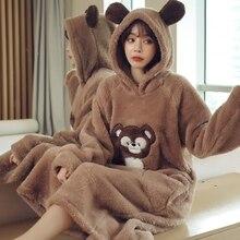 JULYS SONG Winter Cute Sleepwear Warm Thicken Flannel Nightgown Long Sleeve Woman Cartoon Animal  Sleepwear Winter Homewaer