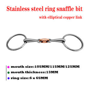 Snaffle-Bit with Elliptical Copper Link. BT0526 Ss-Ring