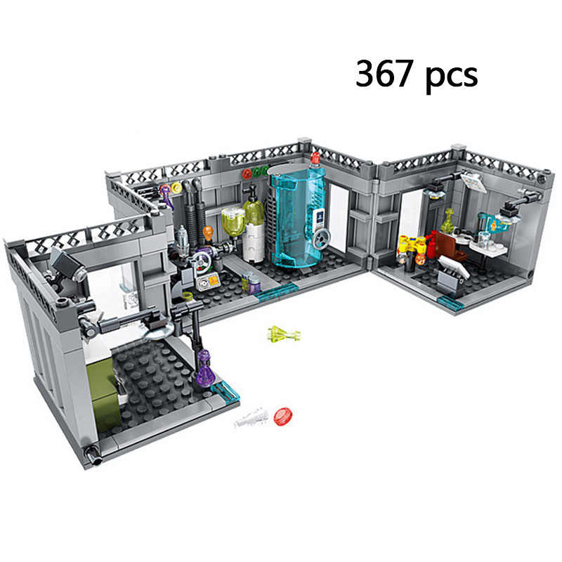 Compatible Legoinglys Tony Stark's Iron Man Dream Lab Cave Marvel Superheros Model Building Blocks Sets Kids Toys Children Gift