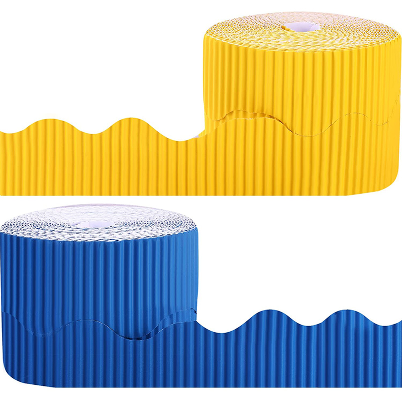 2 Rolls Bulletin Board Borders Scalloped Border Decoration Background Paper for Decorative Borders (Yellow and Blue)