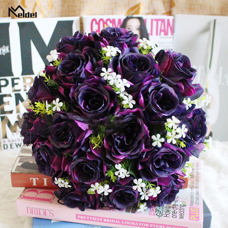 Artificial Flower Roses Gypsophila Bouquet 18 Head Fake Rose Wedding Flower Bride Bouquet Home Table Girl Gift Silk Fake Flowers