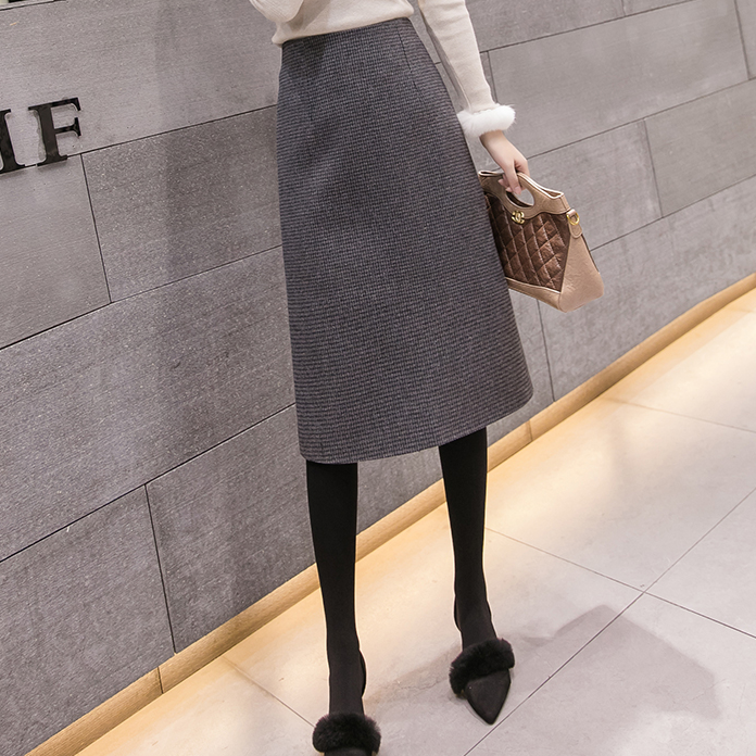 a line winter woolen plaid long skirt women khaki grey vintage empire ladies office workwear midi skirts slit jupe femme DA330