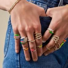 2020 sommer neue bunte Neon emaille öffnen eingestellt finger ring für frauen fluorescent mode schmuck