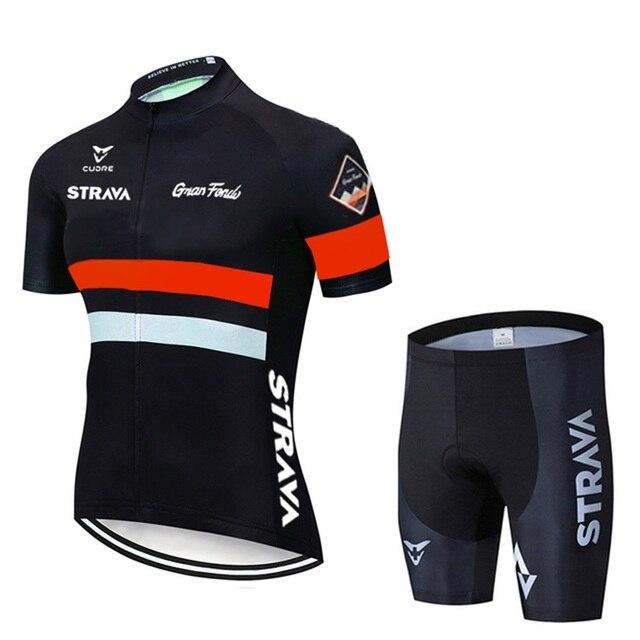 2021 strava pro equipe de verão conjunto camisa ciclismo bicicleta roupas respirável dos homens manga curta camisa bib shorts 3