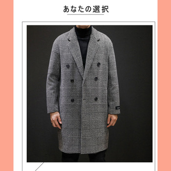 Casual Double Breasted Mens Wool Overcoat Winter 2020 Houndstooth Jacket Men Turn-down Collar Long Woollen Wind Coat