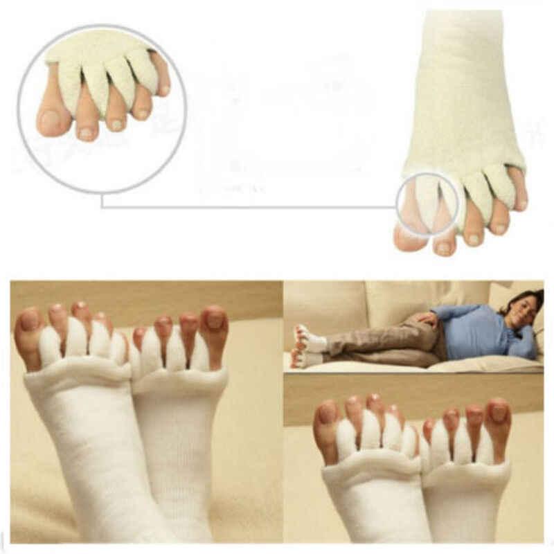 1 쌍 건강 슬리핑 풋 케어 마사지 양말 남성 여성 다섯 발가락 손가락 치료 압축 양말