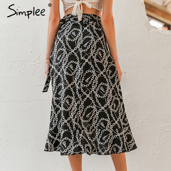 Simplee Fashion chain print women midi skirt Elegant lace up mid waist female wrap skirt Spring summer chic ladies skirts bottom 4