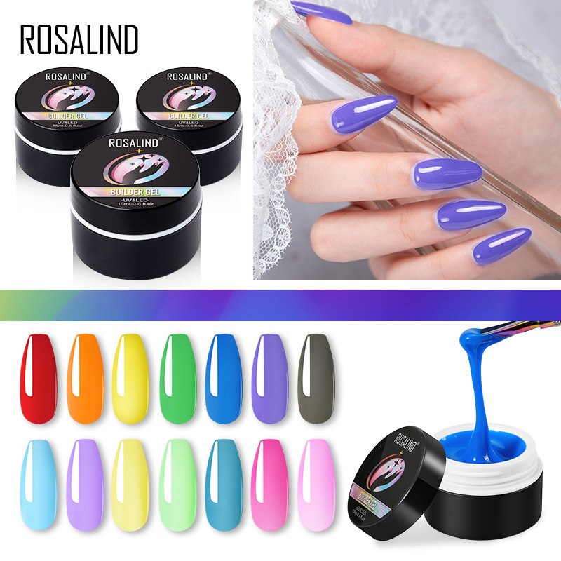 ROSALIND 15ML Builder Gel Nail Polish Clear Nail Poly Gel Varnishes For Nail Art Designed Soak Off Semi Permanent UV Lamp Gel