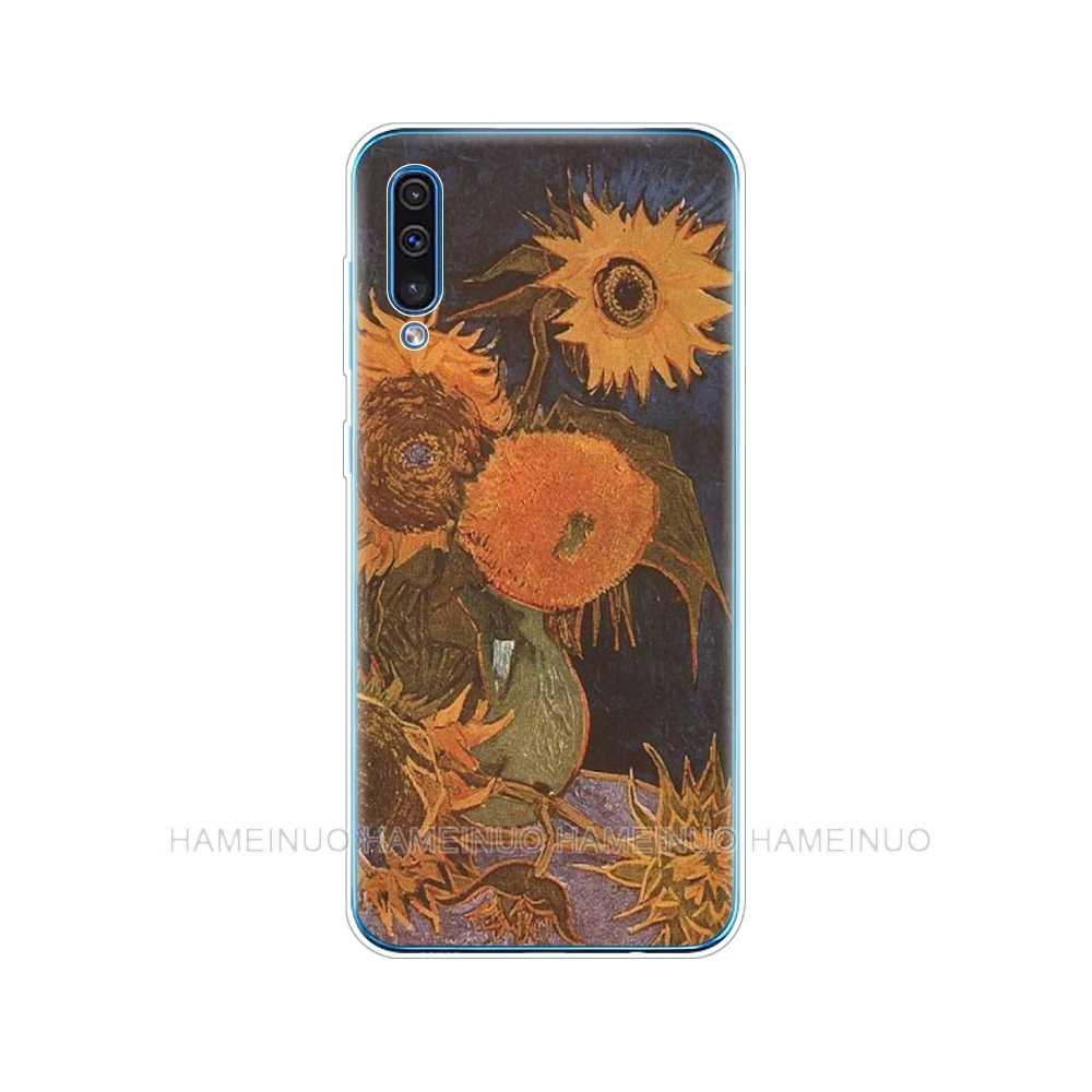 Silicone couverture de téléphone étui pour samsung Galaxy S10 E PLUS A10 A20 A30 A40 A50 A70 A10E A20E M20 couverture Renaissance Van Gogh peinture