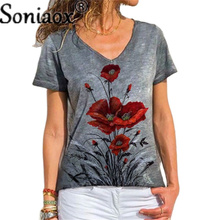 Fashion Summer V-Neck Printed T-Shirt 2021 Women Short-Sleeved T-Shirt Plus Size Tops Loose Casual Street Vintage Pullover Tees