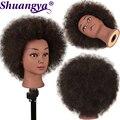 Shuangya Haar Afro Lockige Mannequin Kopf Echten Haar für Flechten Cornrow Praxis Kopf Training Mannequin Dummy Köpfe Frisuren
