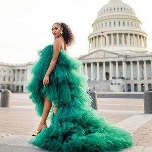 Sexy sin tirantes mujeres faldas largas de tul con tren Maxi Street Ruffled Tule vestidos fiesta Prom Dressing vestido escalonado mullido