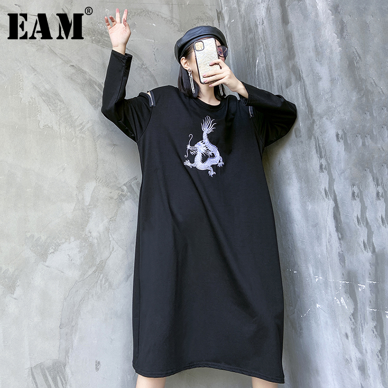 [EAM] Women Black Temperament Big Size Dress New Round Neck Long Sleeve Loose Fit Fashion Tide Spring Autumn 2020 1R459