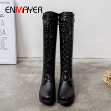 ENMAYER Round Toe Lace-Up Motorcycle Boots Knee-High Med Square Heel Women Winter Solid Short Plush Cross-tied Rain