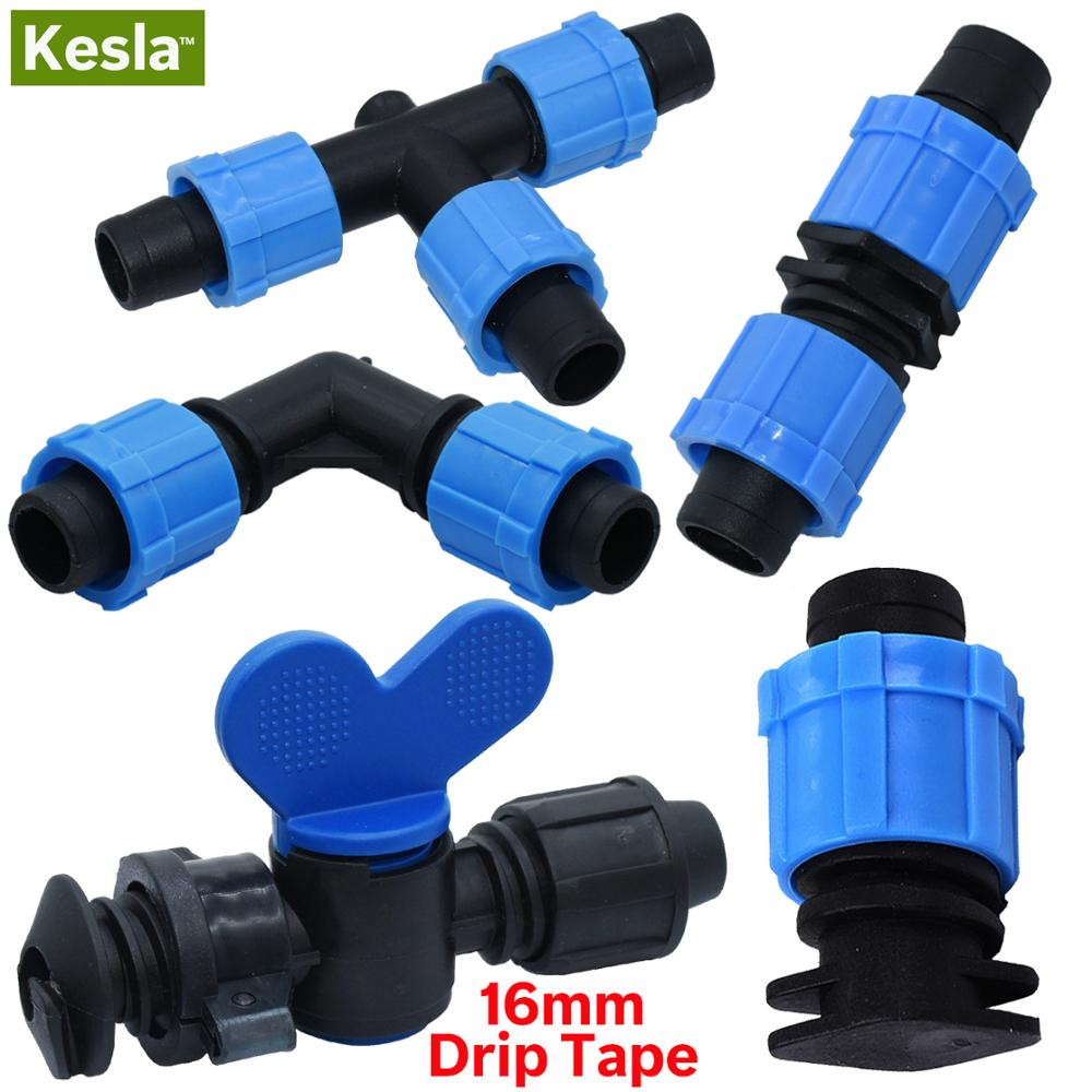 KESLA 2PCS 16mm 5/8'' Micro Irrigation Drip Tape Valve Connectors Tee End Plug Fittings Threaded Lock Pipe Hose Joints Garden