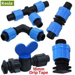 KESLA 2PCS 16mm 5/8'' Micro Irrigation Drip Tape Valve Connectors Tee End Plug Fittings Threaded Lock Pipe Hose Joints Garden(China)