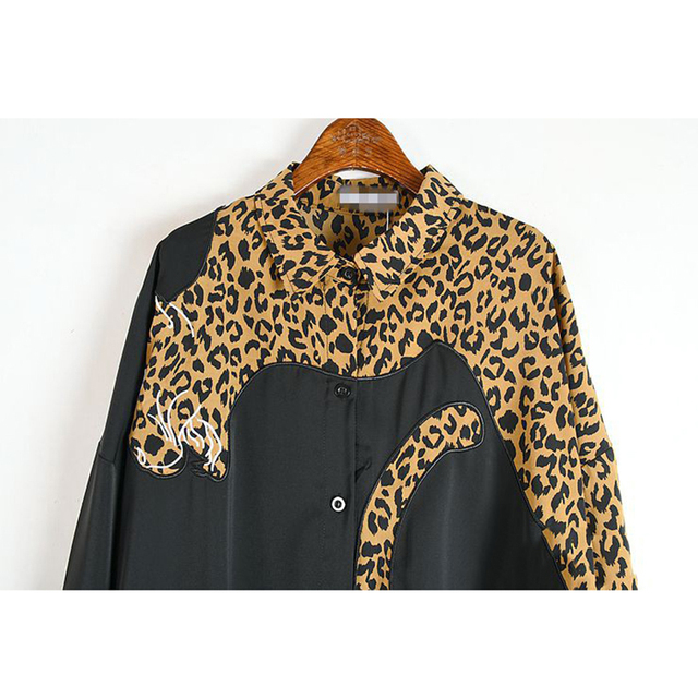 XITAO Europe Style Leopard Print Stitching Irregular Dress Women Long Sleeve Loose Plus Size Chiffon Dresses for Women WJ1018 6