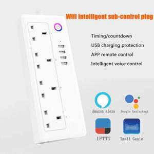 Image 3 - Wifi tira de energia inteligente protetor contra surtos 4 vias tomadas uk tomada elétrica usb homekit controle remoto por alexa google casa